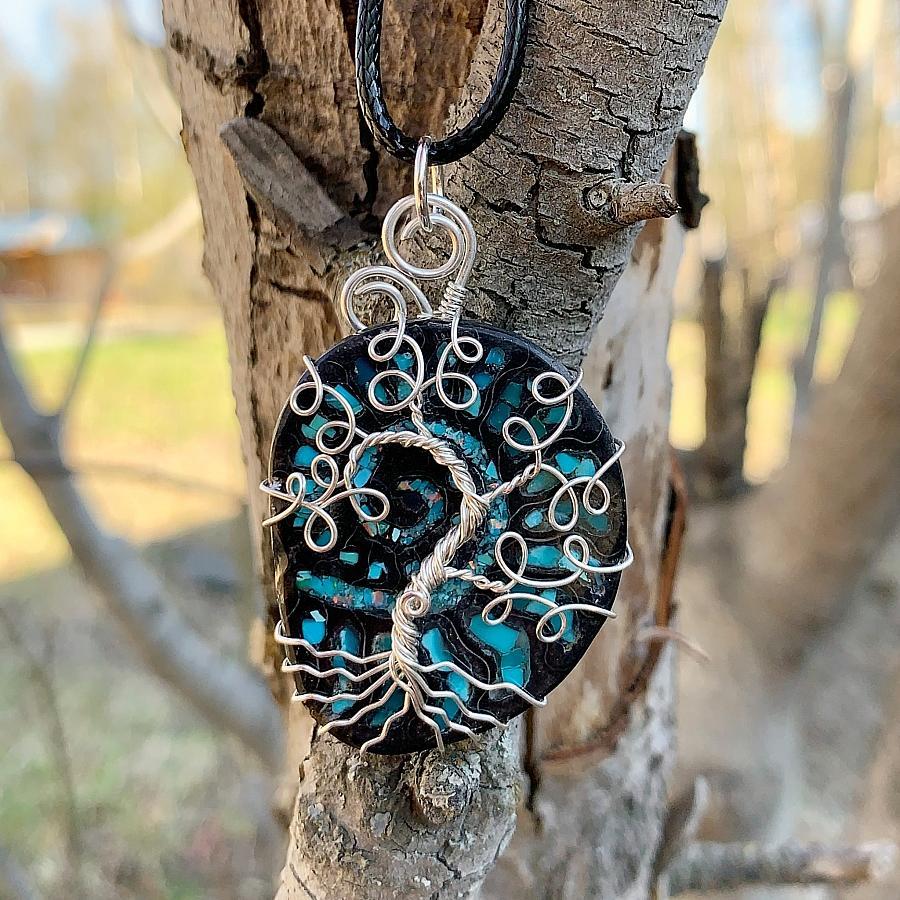 Black Ammonite Tree Pendant
