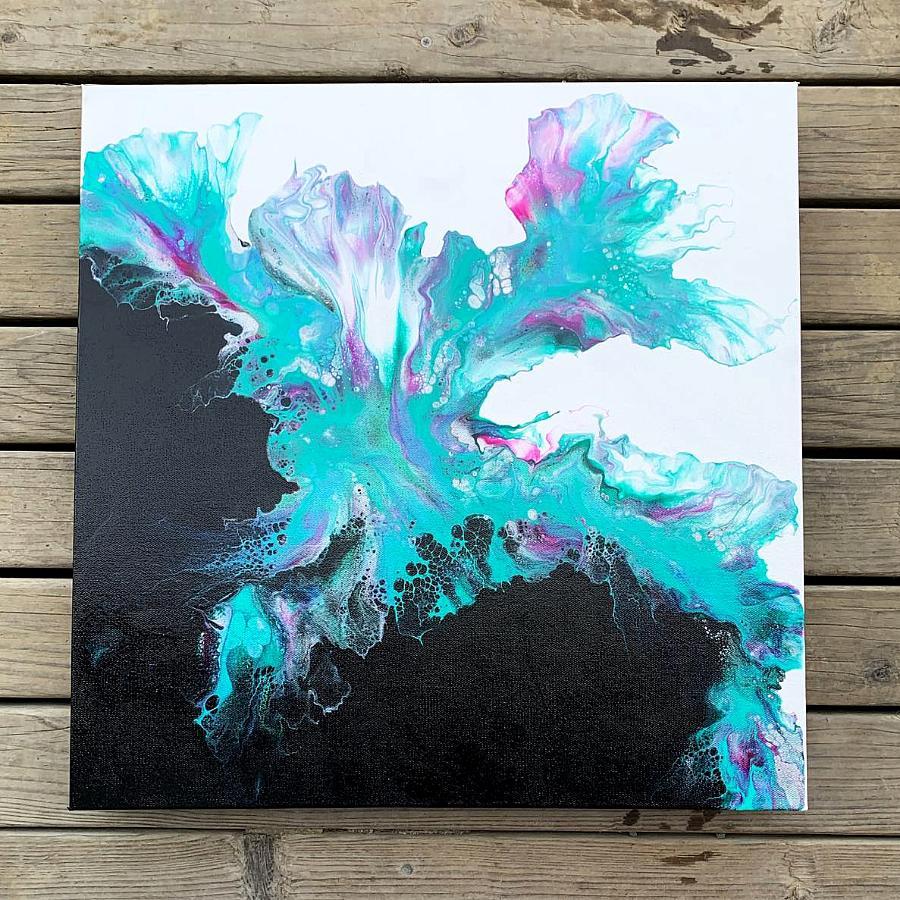 Split Color Background Teal Painting