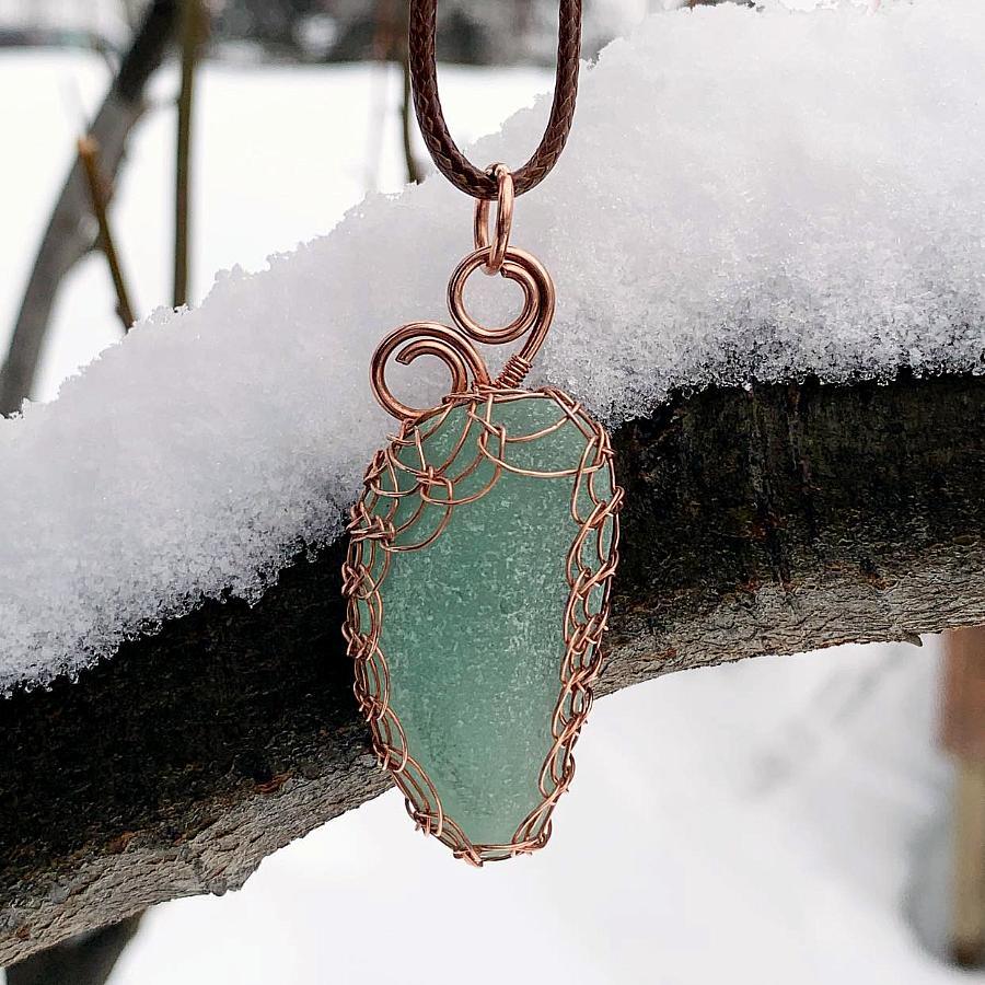 Viking Knit Sea Glass Pendant
